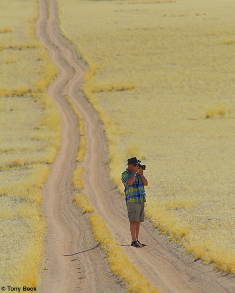 John photographing the desert grassland - Namibia